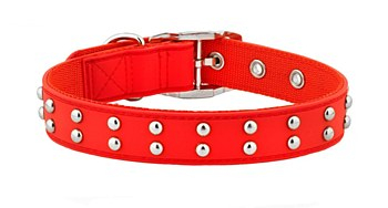 Gummi Dog Collar Stud Medium Red