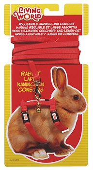 Living World Harness and Lead Set for Rabbits Red