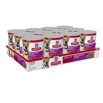 Hill's Science Diet Adult Beef & Barley Entree 370g X 12 Wet Dog Food