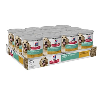 Hill's Science Diet Adult Perfect Weight Chicken & Vegetable Entree 363g X 12 Wet Dog Food