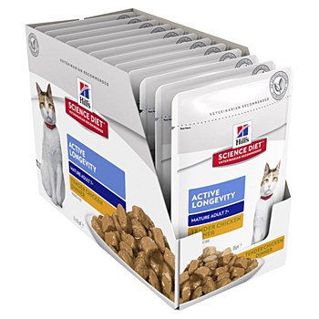 Hill's Science Diet Adult 7+ Active Longevity Chicken 12x85g Pouches Wet Cat Food