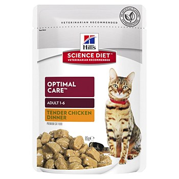 Hill's Science Diet Adult Optimal Care Chicken 85g Pouch Wet Cat Food