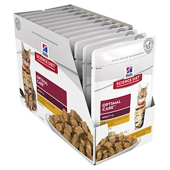 Hill's Science Diet Adult Optimal Care Chicken 12x85g Pouches Wet Cat Food