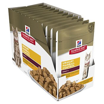 Hill's Science Diet Adult Urinary Hairball Control Chicken 12x85g Pouches Wet Cat Food