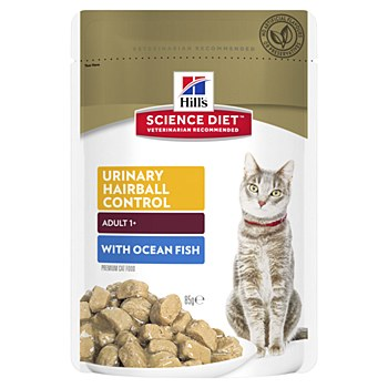 Hill's Science Diet Adult Urinary Hairball Control Ocean Fish85g Pouch Wet Cat Food