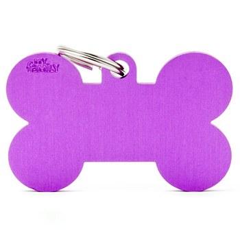 My Family Basic Bone Large Purple Pet Tag