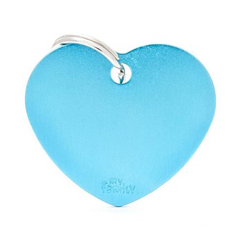 My Family Basic Heart Large Light Blue Pet Tag
