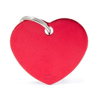 My Family Basic Heart Large Red Pet Tag