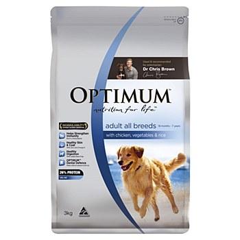 Optimum Adult Dog with Chicken, Vegetables & Rice 3kg Dry Dog Food