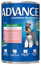 Advance Adult All Breed Chicken and Salmon 410g Wet Dog Food