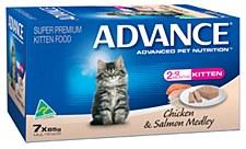 Advance Kitten Chicken & Salmon Medley 7x85g Wet Cat Food