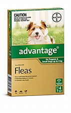 Advantage Green Flea Treatment for Puppies & Small Dogs up to 4kg (4 Pack)