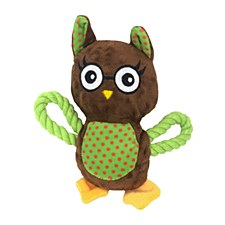 Allpet Snuggle Friends Owl with Rope Dog Toy