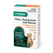 Aristopet Topical Flea & Worm Treatment for Kittens & Small Cats up to 4kg (3 Pack)