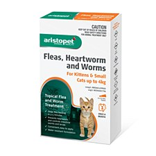 Aristopet Topical Flea & Worm Treatment for Kittens & Small Cats up to 4kg (6 Pack)