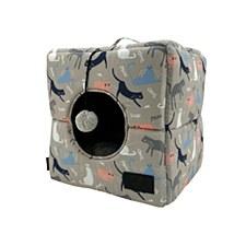 La Doggie Vita Catisse Print Taupe Cube Cat Bed