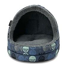 La Doggie Vita Go Fish Print Hooded Cat House Indigo