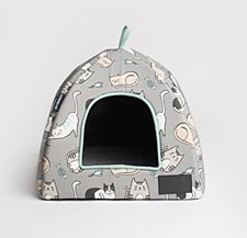 La Doggie Vita Kitten Print Igloo Cat Bed