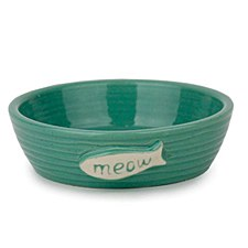 Allpet Pottery Fish Green Cat Bowl