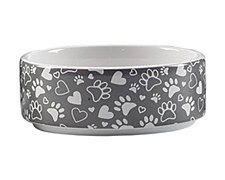 Allpet Black & White Ceramic Medium Dog Bowl