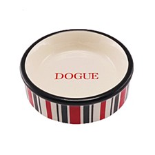 Dogue Cat Bowl Ceramic Candy Red Black & White