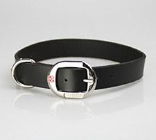 Petlife Dog Collar Leather Plain Large 52.5cm Black