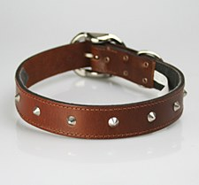 Petlife Dog Collar Leather Studded Small 37.5cm Brown