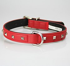 Petlife Dog Collar Leather Punk Stud Small 37.5cm Diablo Red