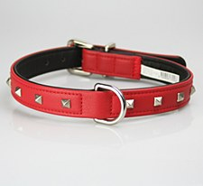 Petlife Dog Collar Leather Punk Stud Extra Small 30cm Diablo Red