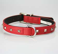 Petlife Dog Collar Leather Punk Stud XX Large 67cm Diablo Red