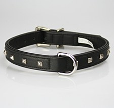 Petlife Dog Collar Leather Punk Stud Extra Small 30cm Black