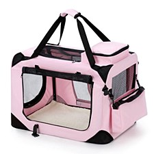 Pet Crate Soft 50cm x 35cm x 35cm Small Pink