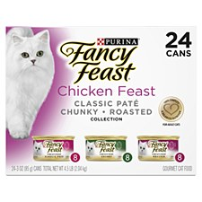 Fancy Feast Chicken Feast Classic Pate Chunky Roasted Collection 85g X 24 Wet Cat Food