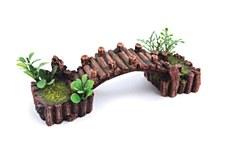 Kazoo Fish Tank Ornament Log Bridge with Plants Small
