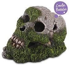 Kazoo Fish Tank Ornament Bubbling Skull with Moss Medium