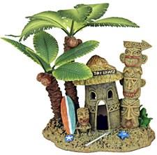 Pet Pacific Fish Tank Ornament Tahiti Village with Palm Tree #2