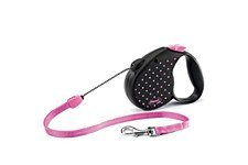 Flexi Classic Cord Dog Lead Retractable Medium 5M Pink Dots