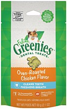 Greenies Feline Dental Treats Oven Roasted Chicken Flavor 60g
