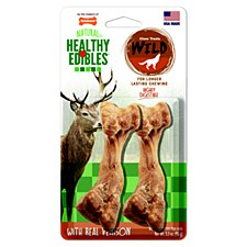Nylabone Natural Healthy Edibles Bones with Real Venison Chew Treats (2 Pack)