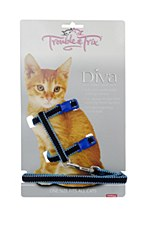Trouble & Trix Cat Harness Diva Velvet Stitch Blue