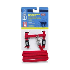 Nylon Cat Harness and Lead Small Red