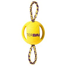 Interball with Rope Rubber Dog Toy