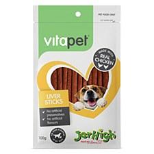 VitaPet JerHigh Liver Sticks Dog Treats 100g