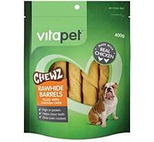 VitaPet JerHigh Chewz Rawhide Barrels with Chicken Liver Dog Treats 400g