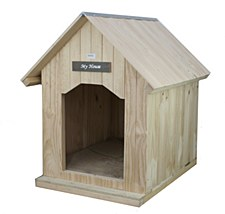 My House Pine with Pine Roof Large Dog Kennel