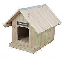My House Pine with Pine Roof Small Dog Kennel