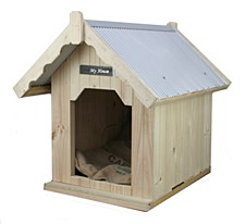 My House Pine with Tin Roof Large Dog Kennel