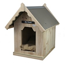 My House Pine with Tin Roof Medium Dog Kennel