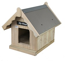 My House Pine with Tin Roof Small Dog Kennel