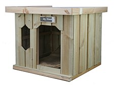 My House Treated Pine with Flat Tin Roof Large Dog Kennel